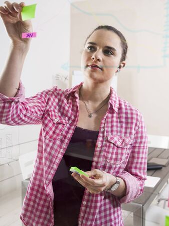 Young Businesswoman Working in Office,Attaching Adhesive Notes to Plans Displayed on a Glass Board