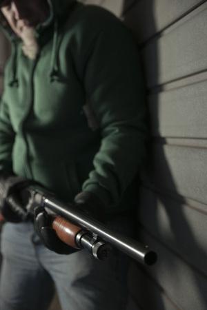 societal: Man with Shotgun,Mannheim,Baden-Wurttemberg,Germany