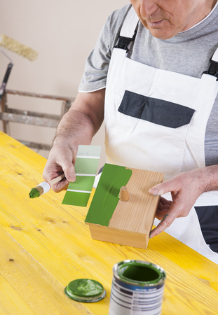 comparable: Man Painting Woodworking Project in Studio