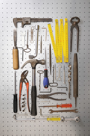 Peg board with tools