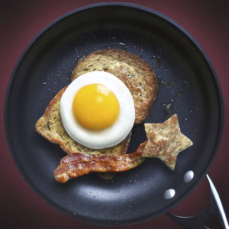 fryed: view of frying pan with bacon,egg and toast