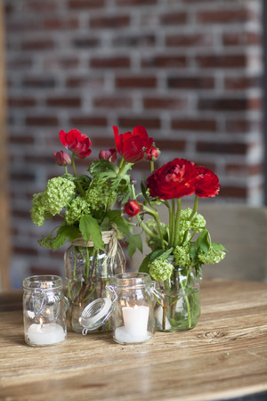 Candles and Flowers in Vases at Wedding,Toronto,Ontario,Canada LANG_EVOIMAGES