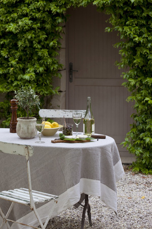 dining table and chairs: Table and chair in garden with appetizers and aperitif drink, Provence, France