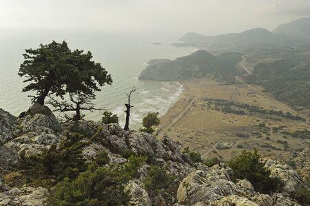 tsambika: View of Tsampika Beach and Arhangelos Bay, Rhodes, Dodecanese, Aegean Sea, Greece, Europe