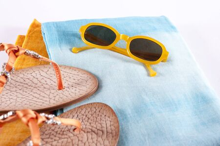 flip flops: Colorful Summer Clothes and Accessories, Sunglasses, Flip Flops and Sarongs, Studio Shot