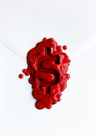 Dollar Sign Wax Seal on Envelope
