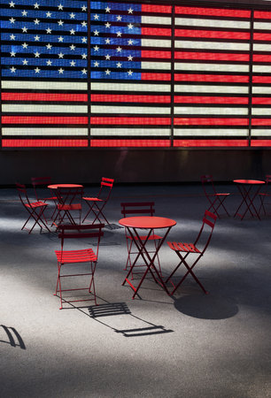 Electronic American Flag With Empty Tables And Chairs, Times Square, New  York City,