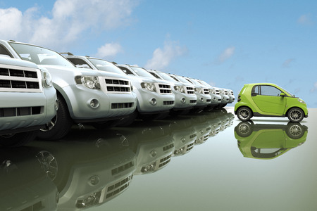 comparable: Illustration of small, eco friendly car in front of a row of large cars, studio shot