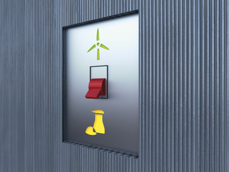 adversaries: 3D Illustration of Switch adjusted to Nuclear Energy Symbol