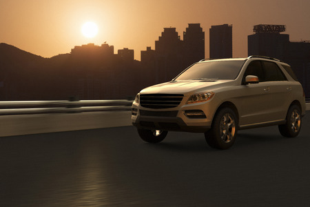 without windows: Illustration of luxury SUV in motion in front of Hong Kong skyline, China