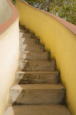 Stairs with Yellow Walls in Temple Area, Wewurukannala Vihara Temple, Dikwella, Matara District, Sri Lanka LANG_EVOIMAGES
