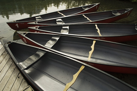 Row of Canoes at Emerald Lake Lodge, Yoho National Park, British Columbia, Canada