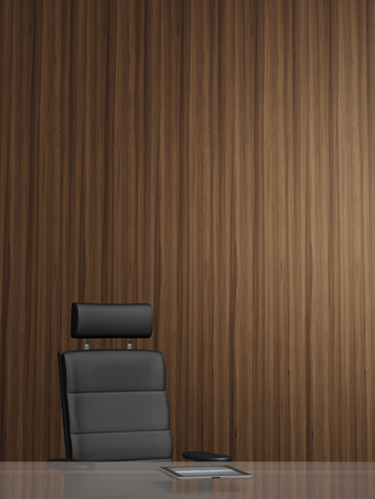 wood panelled: Illustration of office arm chair in front of wooden wall, tablet computer on glass table, studio shot