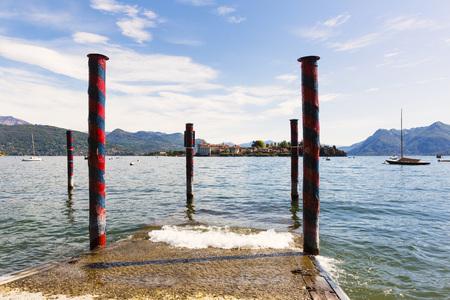bella: Jetty in Spring with Isola Bella, Borromean Islands, Lago Maggiore, Piedmont, Italy