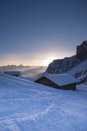 sella: Mountain hut, Passo Gardena and Sella Group, Val Gardena, Bolzano District, Trentino Alto Adige, Dolomites, Italy