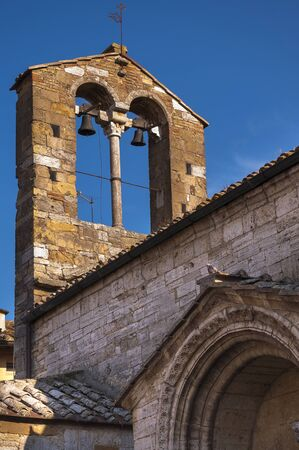 san quirico d'orcia: Close-up of Bell Tower, San Quirico dOrcia, Val dOrcia, Province of Siena, Tuscany, Italy LANG_EVOIMAGES