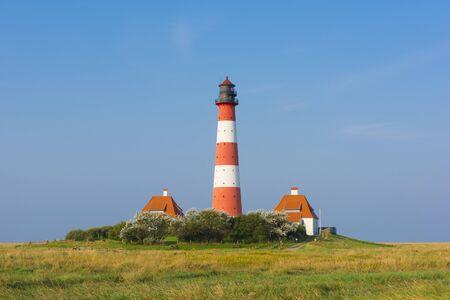 westerhever: Westerhever Lighthouse, Eiderstedt, North Frisia, Schleswig-Holstein, Germany LANG_EVOIMAGES