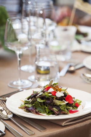 lactuca: Salad on Plate at Wedding Reception, Toronto, Ontario, Canada LANG_EVOIMAGES