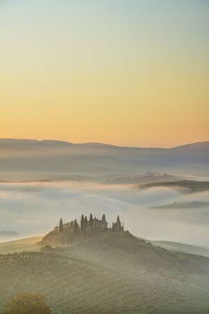 podere: Podere Belvedere near San Quirico dOrcia at Sunrise, Val dOrcia, Siena, Tuscany, Italy