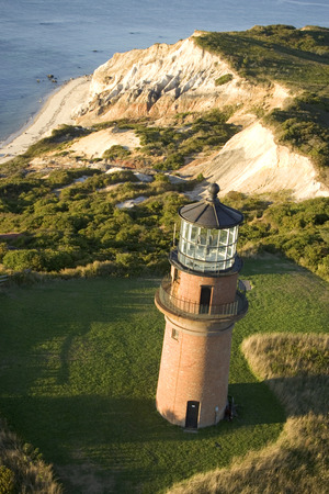 navigational light: Aerial view of the Gay Head Lighthouse on the island of Marthas Vineyard in Aquinnah, Massachusetts, USA LANG_EVOIMAGES