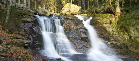Scenic view of waterfall in autumn, Bavarian Forest National Park, Bodenmais, Regen District, Bavaria, Germany