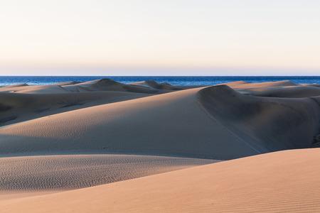 bartolome: Dunes of Maspalomas at sunrise, with the Atlantic ocean, San Bartolome de Tirajana, Gran Canaria, Las Palmas, Canary Islands