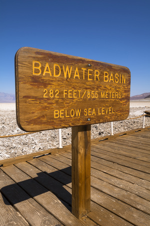 numeric: Badwater Basin Sign, Death Valley National Park, California, USA