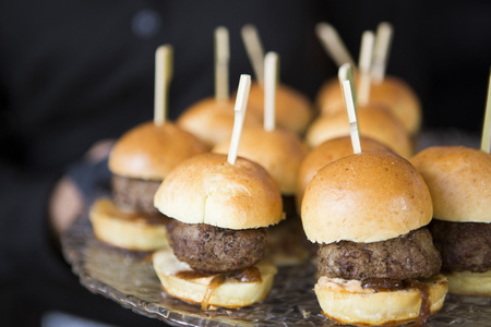 Close-up of Mini Burger Slider with Caramelized Onions Appetizers