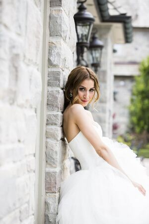 leaned: Portrait of Bride Outdoors, Toronto, Ontario, Canada