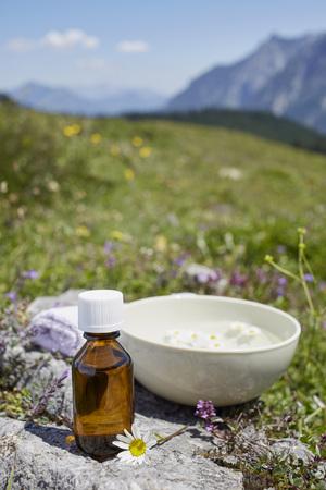holistic view: Homeopathic Medicine and Chamomile, Strobl, Salzburger Land, Austria LANG_EVOIMAGES