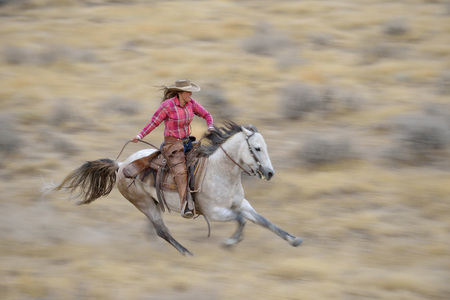 Blurred motion of cowgirl on horse galloping in wilderness, Rocky Mountains, Wyoming, USA