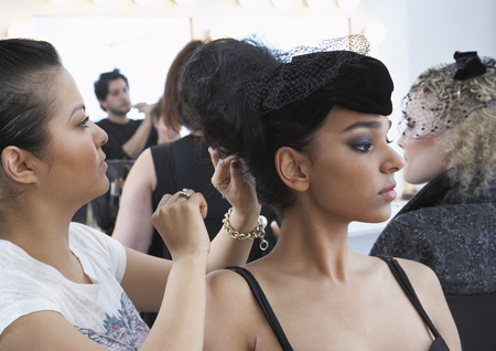 five stars: Model Getting Ready Backstage