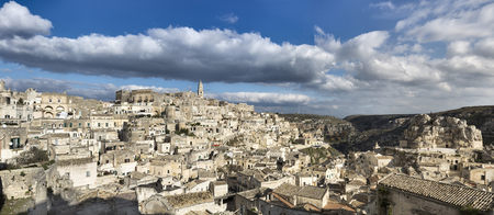 Panoramic view of ancient, Sassi di Matera, one of the three oldest cities in the world, Matera, Basilicata, Italy LANG_EVOIMAGES