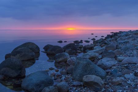 danish: Stony Beach at Sunset, Fyns Hoved, Hindsholm, Kerteminde Municipality, Funen, Baltic Sea, Denmark