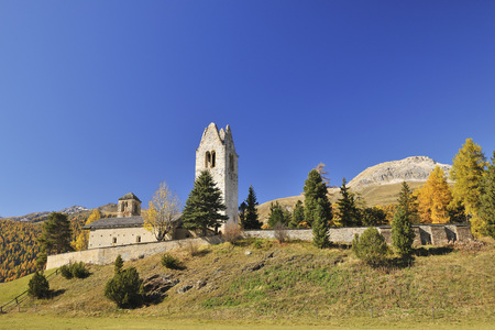 San Gian Church, CelerinaSchlarigna, Maloja, Canton of Graubunden, Switzerland LANG_EVOIMAGES