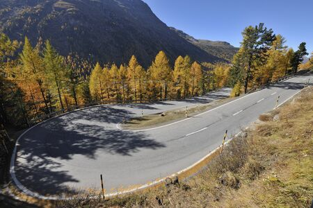 empedrado: Hairpin Turn, Bernina Pass, Pontresina, Canton of Graubunden, Switzerland LANG_EVOIMAGES
