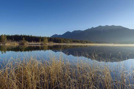 Landscape Reflected in Lake Barmsee, Krun, Upper Bavaria, Bavaria, Germany