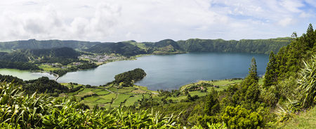crater lake: View of the crater lakes of Sete Cidades, Island of Sao Miguel, Azores, Portugal
