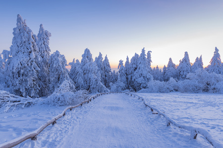 Snow Covered Winter Landscape with Path at Dawn, Grosser Feldberg, Frankfurt, Taunus, Hesse, Germany LANG_EVOIMAGES