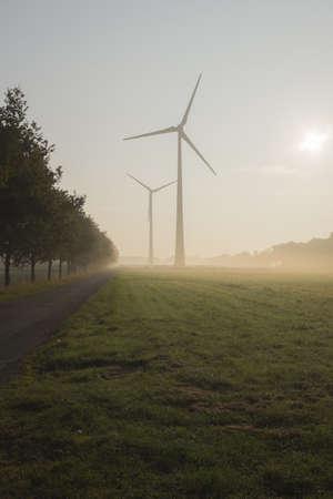 environmental issues: Wind Turbines in Morning Mist, Halle Westfalen, Gutersloh, North Rhine-Westphalia, Germany