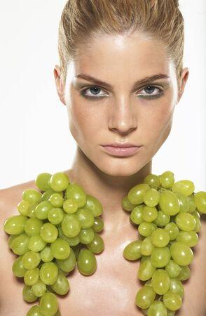 Portrait of Woman Wearing Grapes