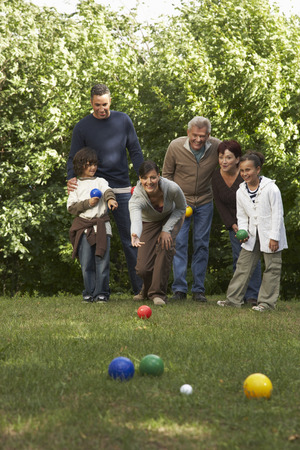 three generations: Family Lawn Bowling