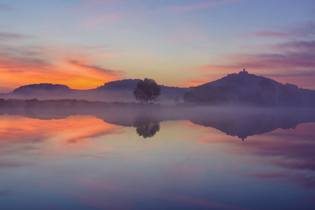 Landscape at Dawn with Wachsenburg Castle Reflecting in Lake, Drei Gleichen, Ilm District, Thuringia, Germany