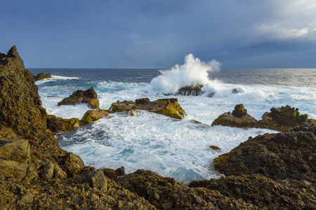 Lava Rock Coast at Sunrise with Breaking Waves, Charco del Viento, La Guancha, Tenerife, Canary Islands, Spain