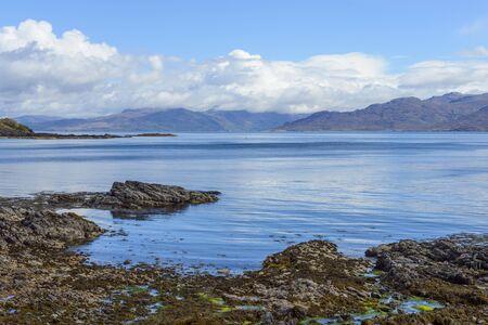 Scottish coastal shoreline along the Sound of Sleat near Armadale on the Isle of Skye in Scotland, United Kingdom