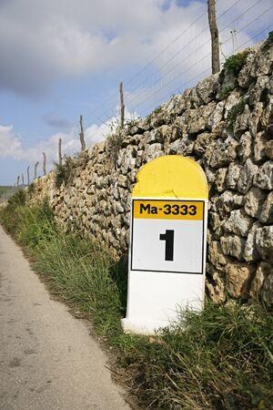 Milepost at Side of Road, Majorca, Spain LANG_EVOIMAGES
