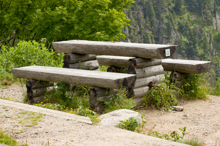 scaffolds: tourist benches on a forest road