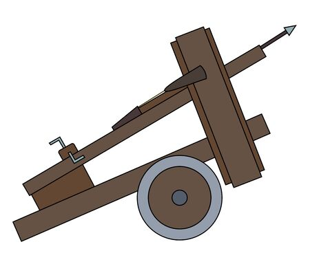 Illustration of a siege weapon- ballista, isolated on a white background