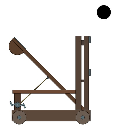 Illustration of an ancient Greek and Roman siege weapon catapult, isolated on a white background