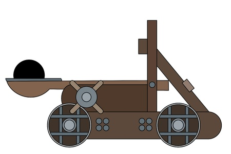 Illustration of a medieval siege weapon - catapult, isolated on a white background